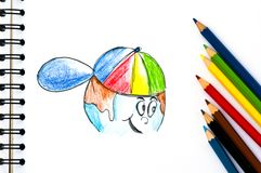The Hand-drawn Picture Of A Drawing Book And Crayo Royalty Free Stock Images