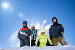 The Happy Group Of People Throws A Snow Royalty Free Stock Image