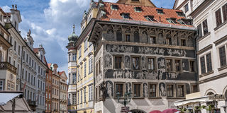 "The House ""At The Minute"" At The Prague Old Town Square Royalty Free Stock Image"