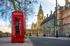 The Iconic British Old Red Telephone Box With Big Ben, London Stock Images