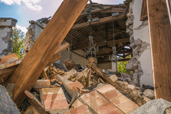 The Interior Of Church Damaged By Earthquake Stock Images