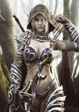 The Land Of The Elves . Portrait Of A Fantasy Heavily Armored Hooded Dark Elf Female Archer Warrior Royalty Free Stock Images