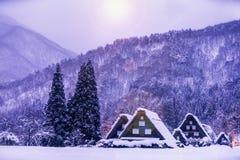 Free The Landscape Of Japan. Shirakawago Twightlight. Historic Village Of Shirakawago In Winter, Japan Royalty Free Stock Photography - 163633757