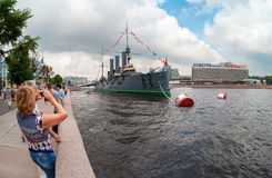 The Legendary Revolutionary Cruiser Aurora At The Place Of Eternal Parking At Neva River In St. Petersburg, Russia Royalty Free Stock Photo