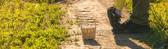 Free The Legs Of The Father And The Child In Yellow Pants, Where The Child Stands On His Toes And On His Father`s Shoes On The Road Stock Photography - 184306842