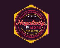 Free The Less You Respond To Negativity, The More Peaceful Your Life Becomes Royalty Free Stock Image - 131458286