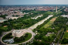 The Lincoln Memoral And The Washington Monument On The National Mall As Seen From The Sky In Washington DC Royalty Free Stock Photos