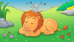 Free The Lion And The Mouse. Aesop Fairy Fable Tale Royalty Free Stock Image - 158457126