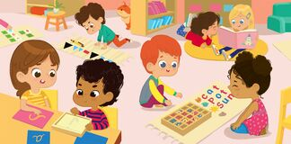 Free The Literature Area Of Montessori Class. Children Practice Writing Letters Parts Of The Speech And Words. Girls Are Stock Photo - 174668560