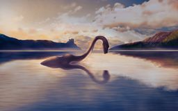 Free The Loch Ness Monster Looks At His Reflection In The Water. Stock Image - 154153181