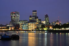 The London Skyline At Night, Thames, London, UK, Great Britain Stock Images