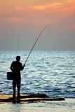 The Lonely Fisherman Stock Image