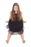 The Long-haired Girl Sitting On The Floor Royalty Free Stock Photography