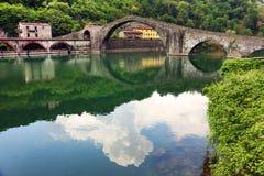 The `Maddalena Bridge` At Borgo A Mozzano, Close To Bagni Di Lucca Stock Photos
