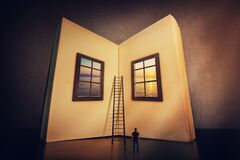 Free The Magic, Giant Open Book With Two Windows Leading To Another Mystic World. Tiny Man Look At The Textbook Blank Sheets Ready To Stock Photo - 172574780