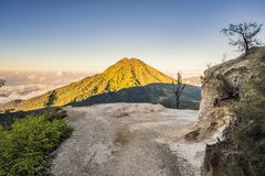 Free The Magnificent Views On Green Mountains From A Mountain Road Trecking To The Ijen Volcano Or Kawah Ijen On The Royalty Free Stock Images - 155138659