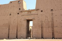 The Main Entrance Of Edfu Temple Showing The First Pylon. Egypt. Royalty Free Stock Photography
