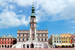 The Main Market Square In The Old Town Of Zamosc. Royalty Free Stock Photos