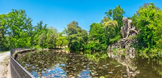 Free The Majestic Big Statue Of Colosso Dell Appennino Giant Statue And Pond In Public Gardens Of Pratolino Near Florence In Stock Images - 151931744