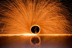 The Man Dacing Swing Fire Show On The Beach Royalty Free Stock Images