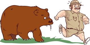Free The Man Who Ran Away From The Bear. But Bear Is Idiot Vector Illustration Stock Photos - 162664043