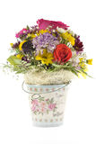The Metal Bucket With Flowers Royalty Free Stock Photo