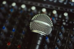 Free The Microphone Lies On The Mixer Royalty Free Stock Photos - 102742188