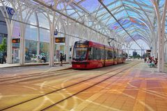 Free The Modern Tram Station - Stop Center .Lodz,Poland Stock Photo - 113468900