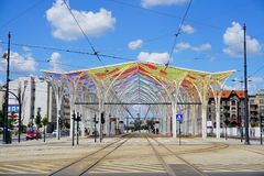 Free The Modern Tram Station - Stop Center - Street AL.Mickiewicza And Street Piotrkowska Royalty Free Stock Image - 113468306