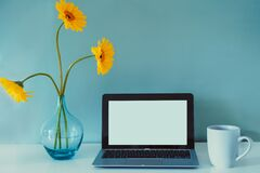 Free The Modern Workplace - Desk With Laptop Mockup White Empty Screen, Coffee Cup, And Fresh Yellow Gerbera Flowers In The Royalty Free Stock Image - 217703276