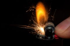 Free The Moment Of Ignition And Spark Of An Old Lighter Stock Photos - 139366903