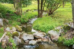 Free The Moselle Flowing Peacefully Through Pastures Stock Photography - 142141652