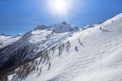 Free The Mountain Range In Saas Fee, Switzerland Stock Photo - 113801490