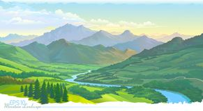Free The Mountains, The Meadows, The Green Landscape And The River. Vector Image. Royalty Free Stock Photo - 137731255
