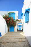 The Narrow Old Residential Street Of Sidi Bou Said Royalty Free Stock Image