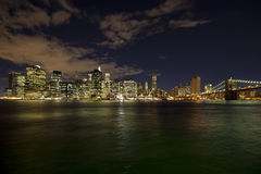 The New York City Skyline W Brooklyn Bridge Stock Image