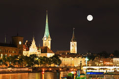 The Night View Of Major Landmarks In Zurich Royalty Free Stock Photo