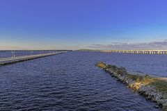 Free The Ocean Springs Bay Bridge, Fishing Pier And Train Bridge Stock Photography - 187793112