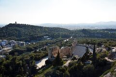 Free The Odeon Of Herodes Atticus From Acropolis And Athens Landscape , Greece Stock Image - 184714411