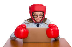 Free The Office Employee At Job Wearing Box Gloves Royalty Free Stock Photos - 61199458