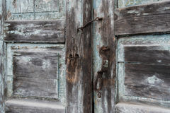 Free The Old Door Locked With A Padlock Hanging Brackets. At An Angle. Stock Photos - 88829733