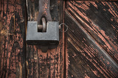 Free The Old Door Locked With A Padlock Hanging Brackets. Set Of Backgrounds Stock Images - 88829564