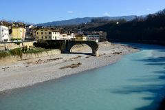 Free The Old Half-destroyed Bridge Over The Piave River, In Belluno Royalty Free Stock Images - 147360349