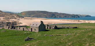 The Old Ruined Cottage,  Torrisdale Bay, Bettyhill, Caithness, Scotland. Stock Images