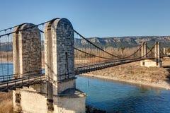 Free The Old Suspension Bridge Of Mallemort - Bouches-du-Rhone France Stock Image - 142056951