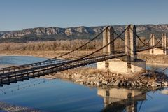 Free The Old Suspension Bridge Of Mallemort - Bouches-du-Rhone France Royalty Free Stock Photos - 142057728