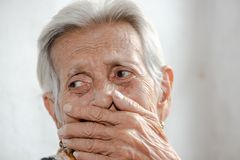 Free The Old Woman`s Felling Lonelydementia And Alzheimer,disease. Royalty Free Stock Photo - 160419295