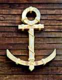 The Old Wooden Anchor On Wood Wall Royalty Free Stock Images