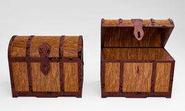 Free The Old Wooden Treasure Chest Has A Rusted Metal Frame. Brown Wooden Box With Metal Frame And Rusty Iron Pins Place On A White Stock Images - 190467464