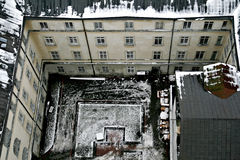 The Old Yard In Winter Lviv Top View Stock Photo